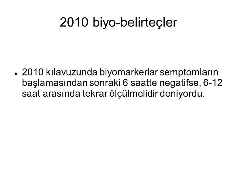 2010 biyo-belirteçler 2010 kılavuzunda biyomarkerlar semptomların başlamasından sonraki 6 saatte negatifse, 6-12 saat arasında tekrar ölçülmelidir den