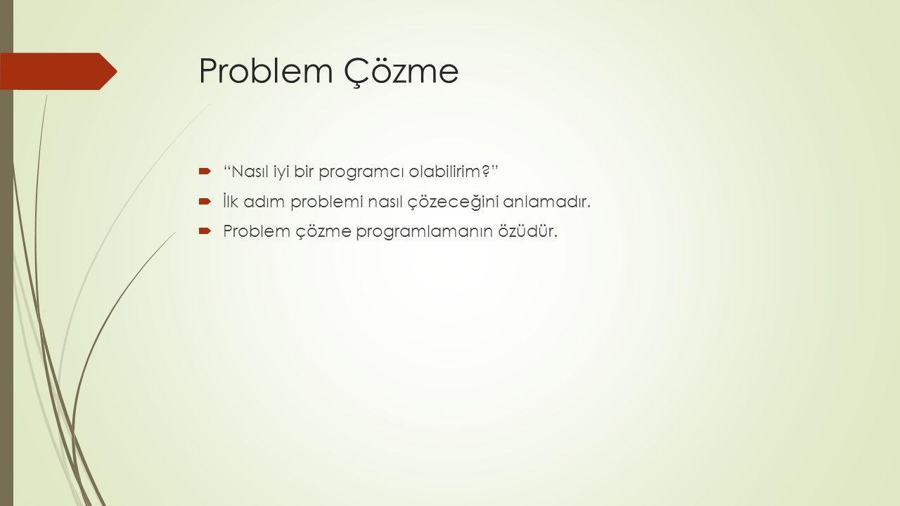 Problem Çözme  Nasıl iyi bir programcı olabilirim?  İlk adım problemi nasıl çözeceğini anlamadır.