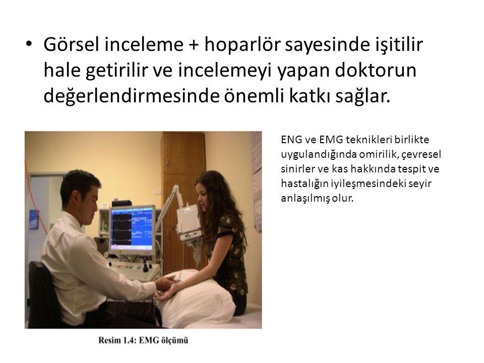 Görsel inceleme + hoparlör sayesinde işitilir hale getirilir ve incelemeyi yapan doktorun değerlendirmesinde önemli katkı sağlar. ENG ve EMG teknikler