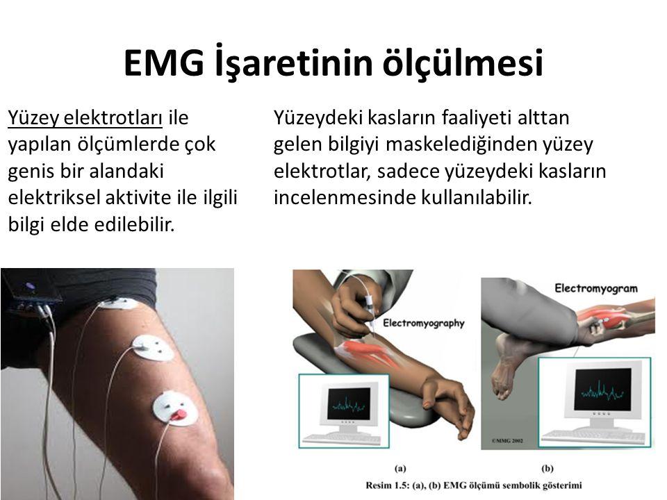 EMG İşaretinin ölçülmesi Yüzey elektrotları ile yapılan ölçümlerde çok genis bir alandaki elektriksel aktivite ile ilgili bilgi elde edilebilir. Yüzey