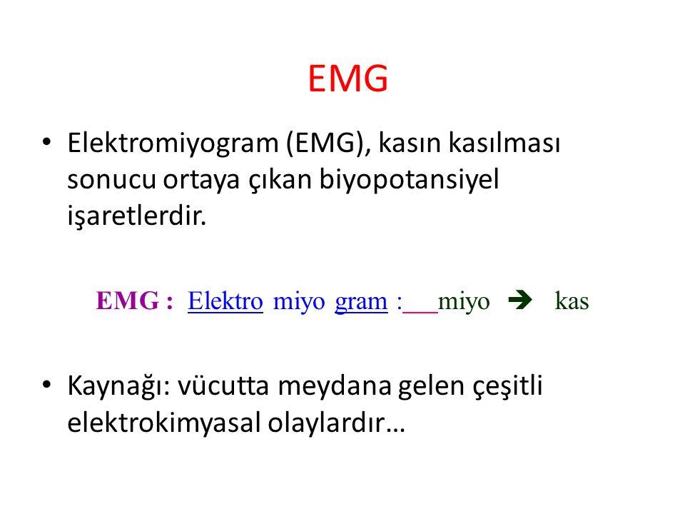 EMG Elektromiyogram (EMG), kasın kasılması sonucu ortaya çıkan biyopotansiyel işaretlerdir. EMG : Elektro miyo gram :miyo  kas Kaynağı: vücutta meyda