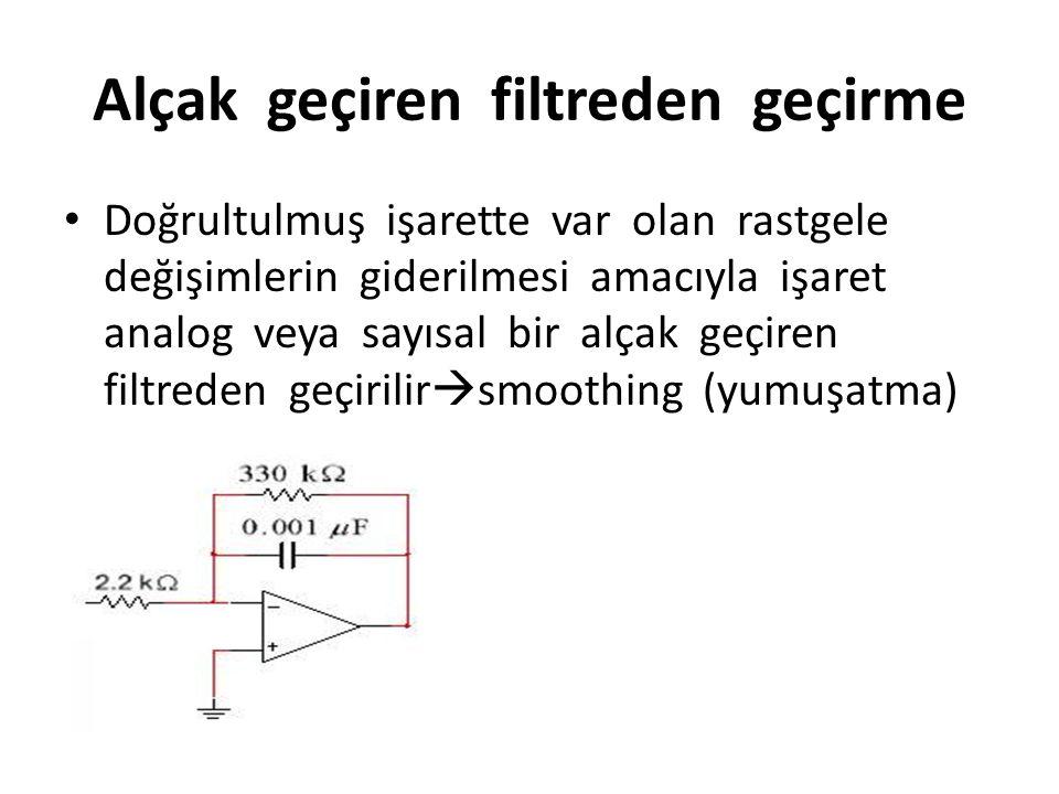Alçak geçiren filtreden geçirme Doğrultulmuş işarette var olan rastgele değişimlerin giderilmesi amacıyla işaret analog veya sayısal bir alçak geçiren