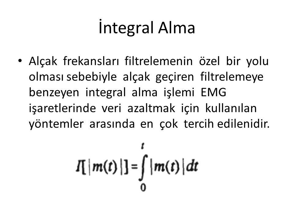 İntegral Alma Alçak frekansları filtrelemenin özel bir yolu olması sebebiyle alçak geçiren filtrelemeye benzeyen integral alma işlemi EMG işaretlerind