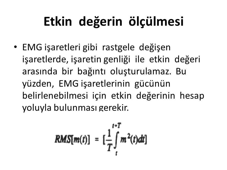 Etkin değerin ölçülmesi EMG işaretleri gibi rastgele değişen işaretlerde, işaretin genliği ile etkin değeri arasında bir bağıntı oluşturulamaz. Bu yüz