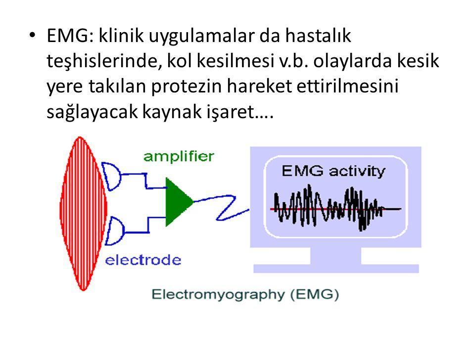 EMG: klinik uygulamalar da hastalık teşhislerinde, kol kesilmesi v.b. olaylarda kesik yere takılan protezin hareket ettirilmesini sağlayacak kaynak iş