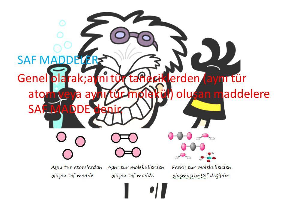 SAF MADDELER Genel olarak;aynı tür taneciklerden (aynı tür atom veya aynı tür molekül) oluşan maddelere SAF MADDE denir.