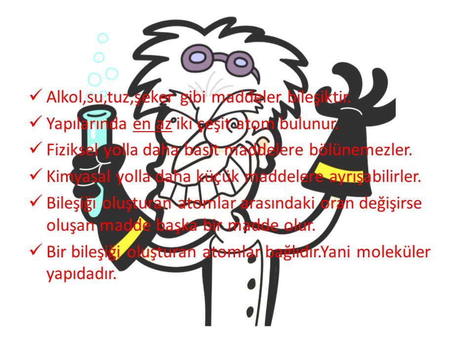 Alkol,su,tuz,şeker gibi maddeler bileşiktir.Yapılarında en az iki çeşit atom bulunur.