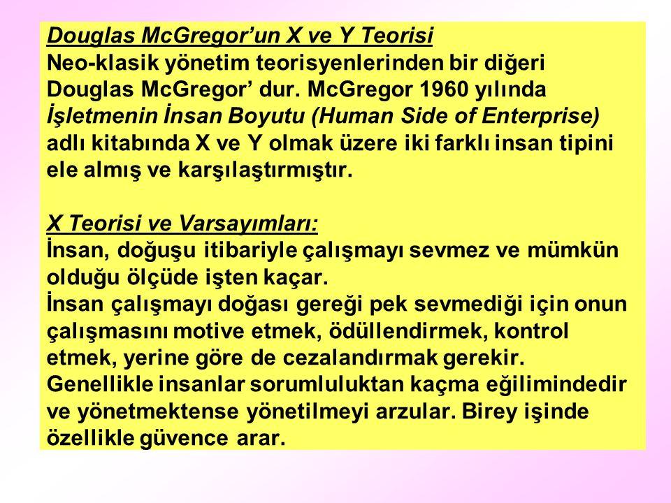 Douglas McGregor'un X ve Y Teorisi Neo-klasik yönetim teorisyenlerinden bir diğeri Douglas McGregor' dur. McGregor 1960 yılında İşletmenin İnsan Boyut