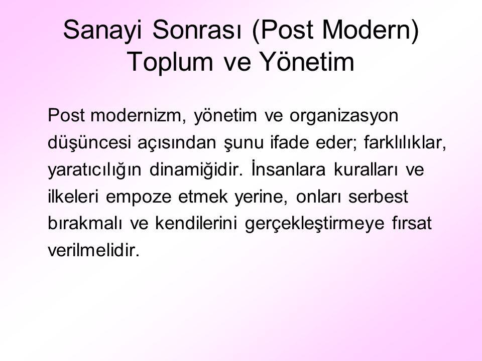 Sanayi Sonrası (Post Modern) Toplum ve Yönetim Post modernizm, yönetim ve organizasyon düşüncesi açısından şunu ifade eder; farklılıklar, yaratıcılığı