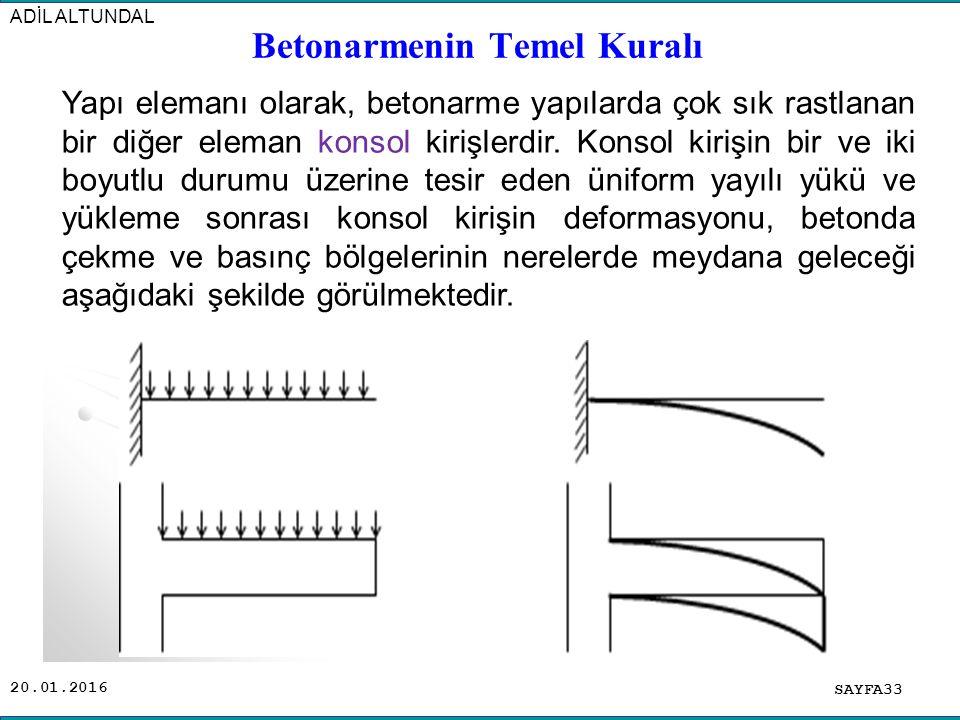 20.01.2016 SAYFA33 ADİL ALTUNDAL Yapı elemanı olarak, betonarme yapılarda çok sık rastlanan bir diğer eleman konsol kirişlerdir. Konsol kirişin bir ve