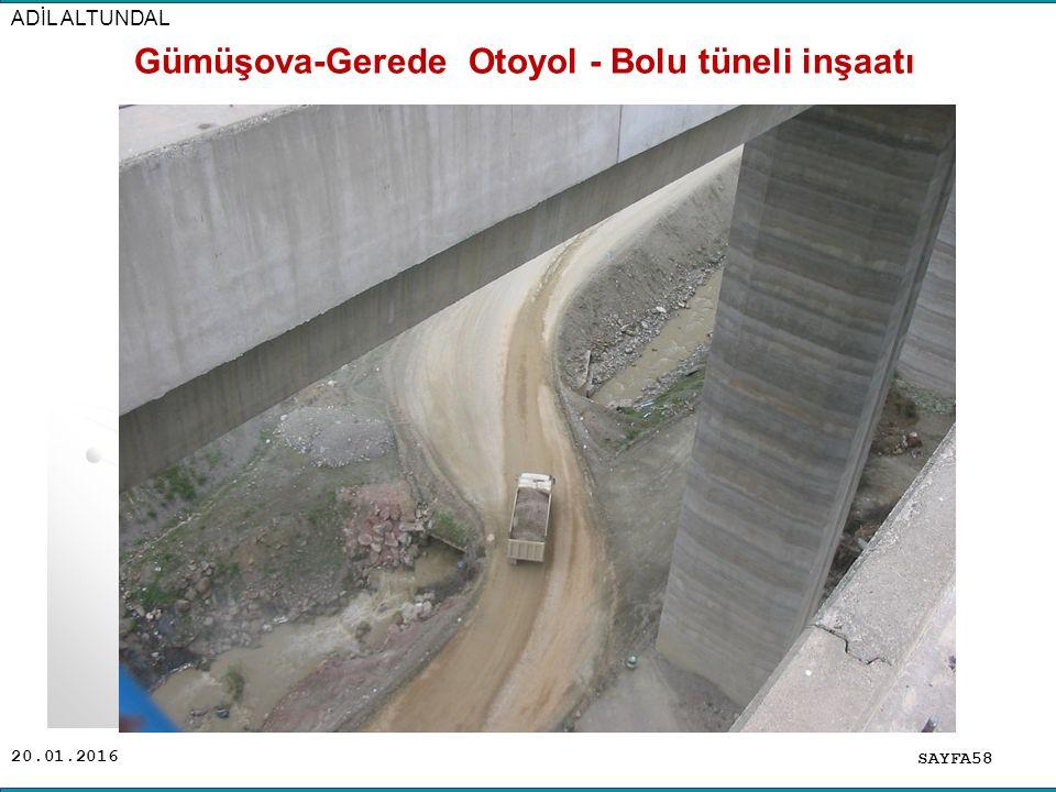 20.01.2016 SAYFA58 ADİL ALTUNDAL Gümüşova-Gerede Otoyol - Bolu tüneli inşaatı