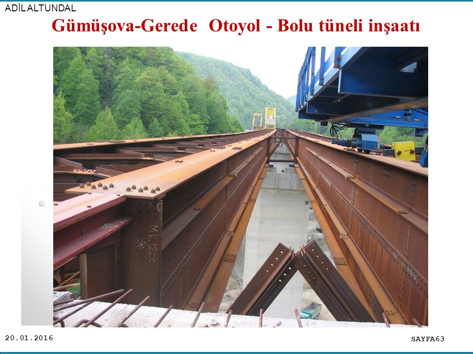 20.01.2016 SAYFA63 ADİL ALTUNDAL Gümüşova-Gerede Otoyol - Bolu tüneli inşaatı