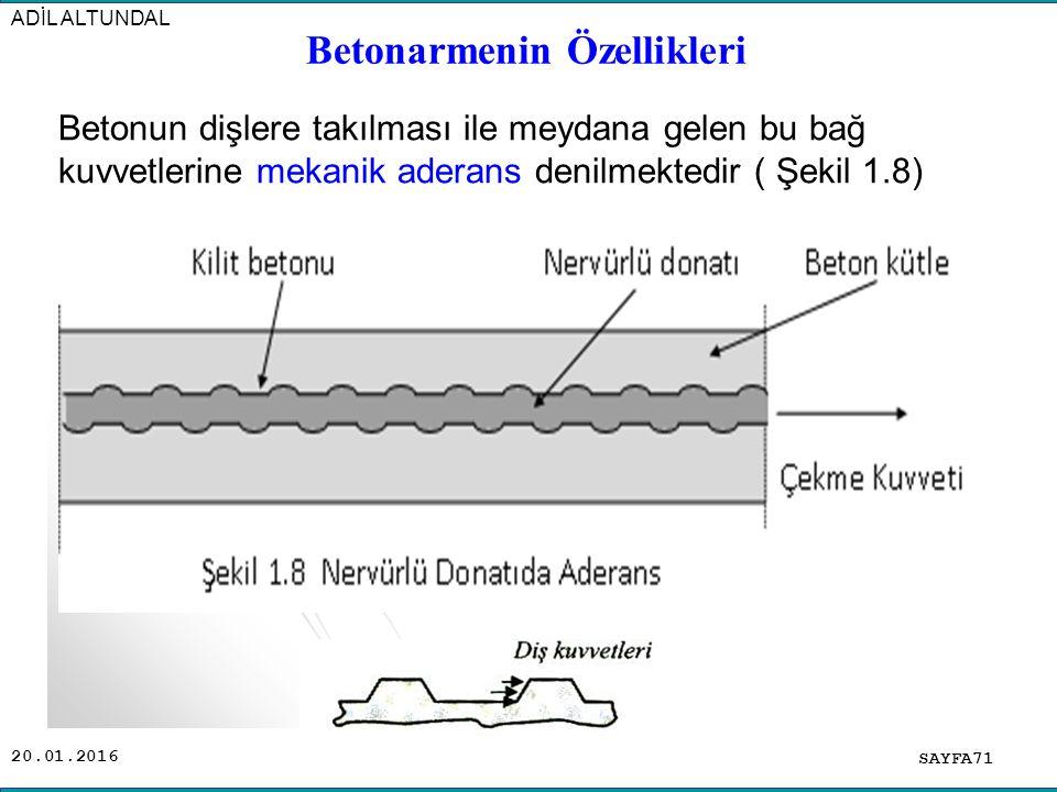20.01.2016 Betonarmenin Özellikleri SAYFA71 ADİL ALTUNDAL Betonun dişlere takılması ile meydana gelen bu bağ kuvvetlerine mekanik aderans denilmektedir ( Şekil 1.8)