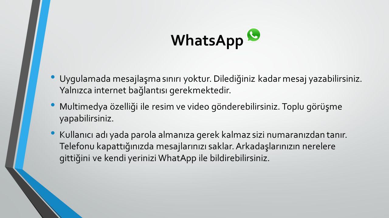 WhatsApp Uygulamada mesajlaşma sınırı yoktur. Dilediğiniz kadar mesaj yazabilirsiniz.