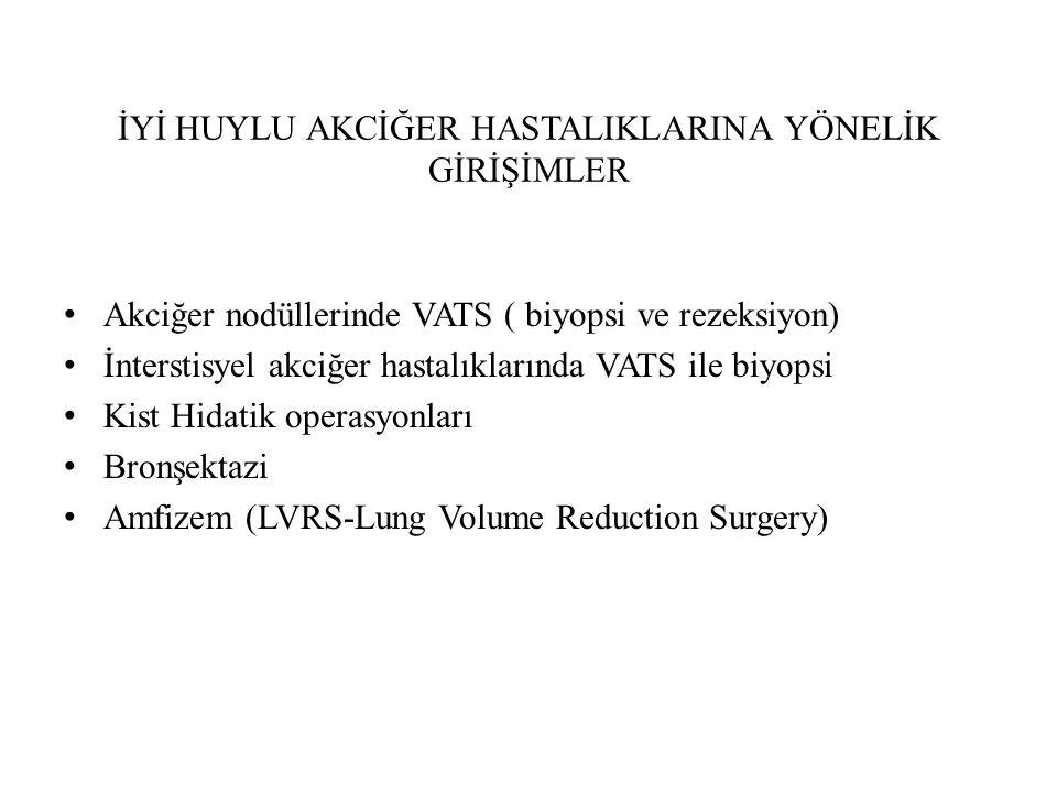 İYİ HUYLU AKCİĞER HASTALIKLARINA YÖNELİK GİRİŞİMLER Akciğer nodüllerinde VATS ( biyopsi ve rezeksiyon) İnterstisyel akciğer hastalıklarında VATS ile b