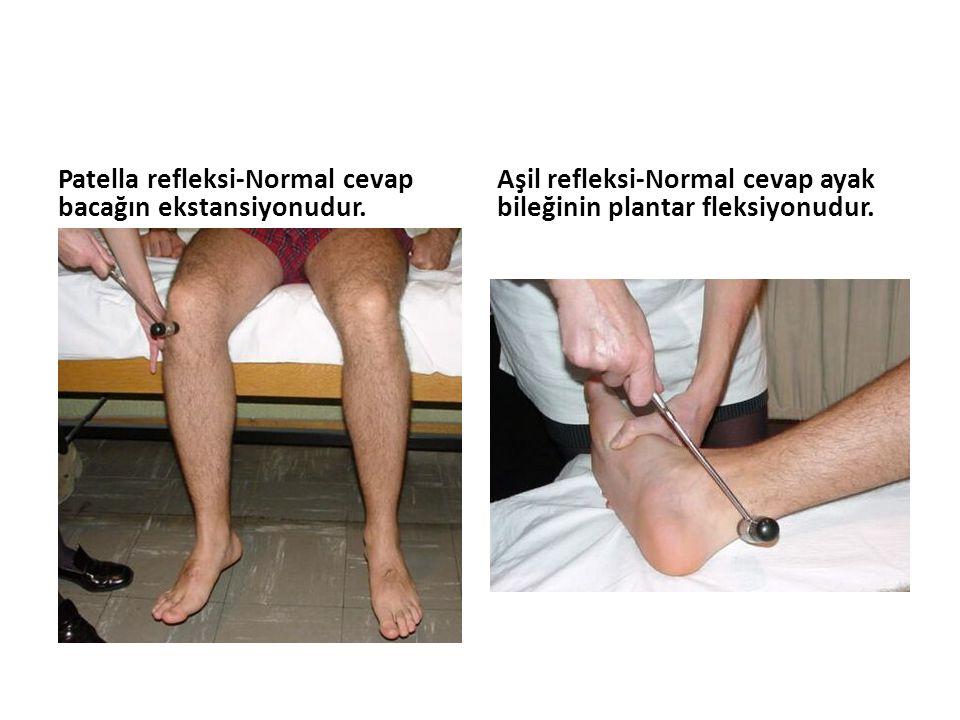 Patella refleksi-Normal cevap bacağın ekstansiyonudur. Aşil refleksi-Normal cevap ayak bileğinin plantar fleksiyonudur.