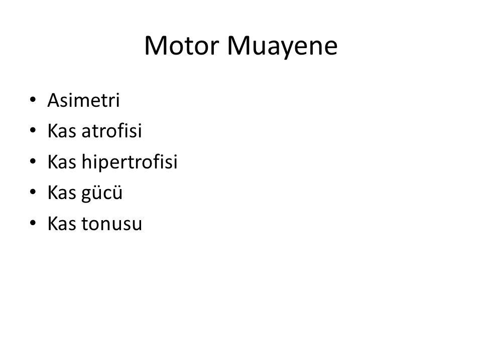 Motor Muayene Asimetri Kas atrofisi Kas hipertrofisi Kas gücü Kas tonusu