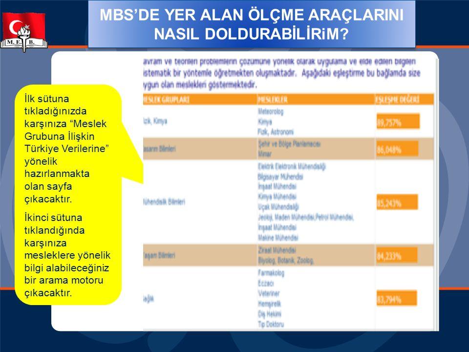 """MBS'DE YER ALAN ÖLÇME ARAÇLARINI NASIL DOLDURABİLİRiM? İlk sütuna tıkladığınızda karşınıza """"Meslek Grubuna İlişkin Türkiye Verilerine"""" yönelik hazırla"""