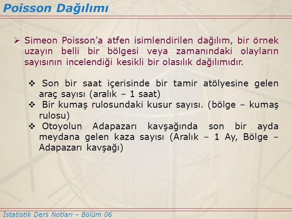 Poisson Dağılımı İstatistik Ders Notları – Bölüm 06  Simeon Poisson'a atfen isimlendirilen dağılım, bir örnek uzayın belli bir bölgesi veya zamanında