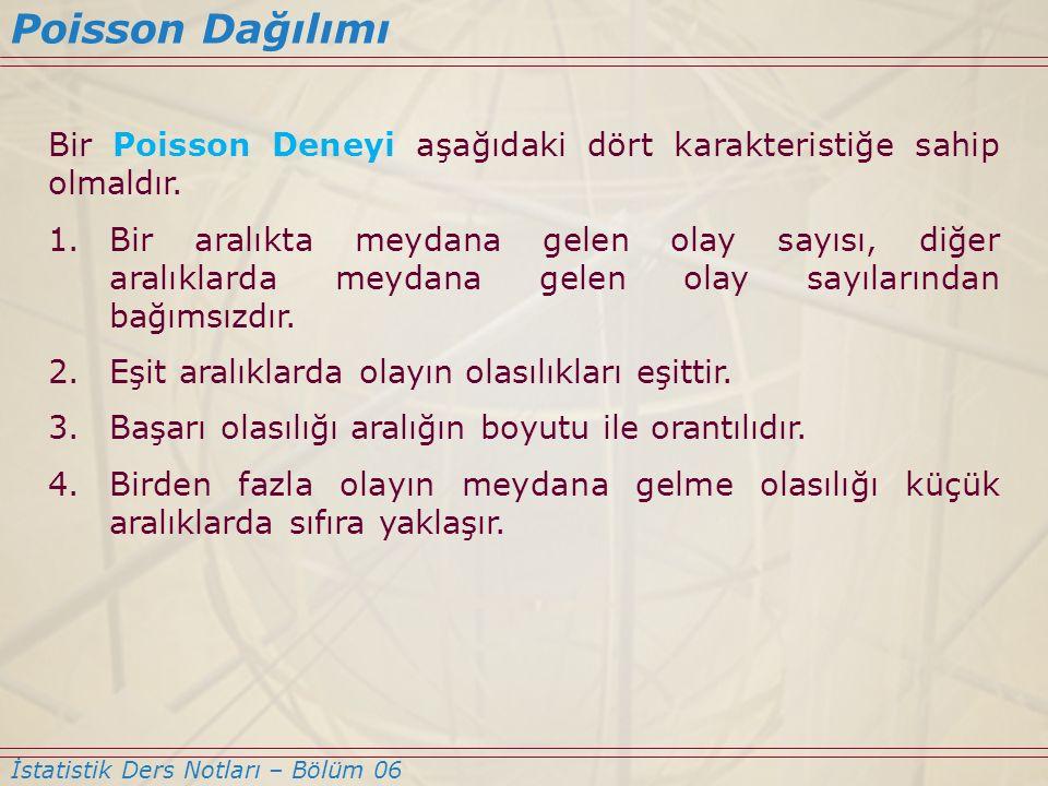 Poisson Dağılımı İstatistik Ders Notları – Bölüm 06 Bir Poisson Deneyi aşağıdaki dört karakteristiğe sahip olmaldır. 1.Bir aralıkta meydana gelen olay