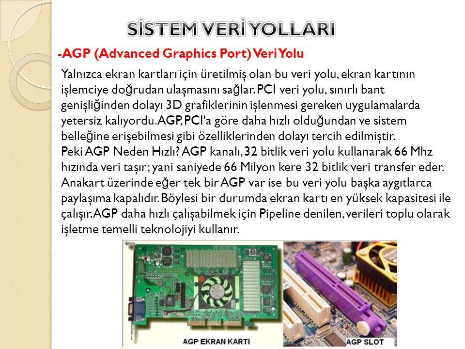 -AGP (Advanced Graphics Port) Veri Yolu Yalnızca ekran kartları için üretilmiş olan bu veri yolu, ekran kartının işlemciye do ğ rudan ulaşmasını sa ğ