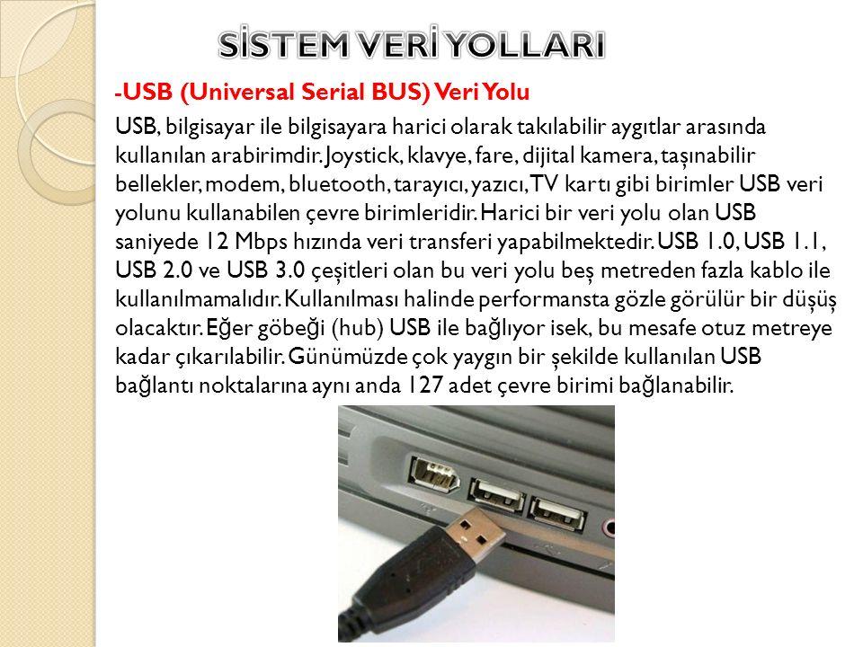 -USB (Universal Serial BUS) Veri Yolu USB, bilgisayar ile bilgisayara harici olarak takılabilir aygıtlar arasında kullanılan arabirimdir. Joystick, kl