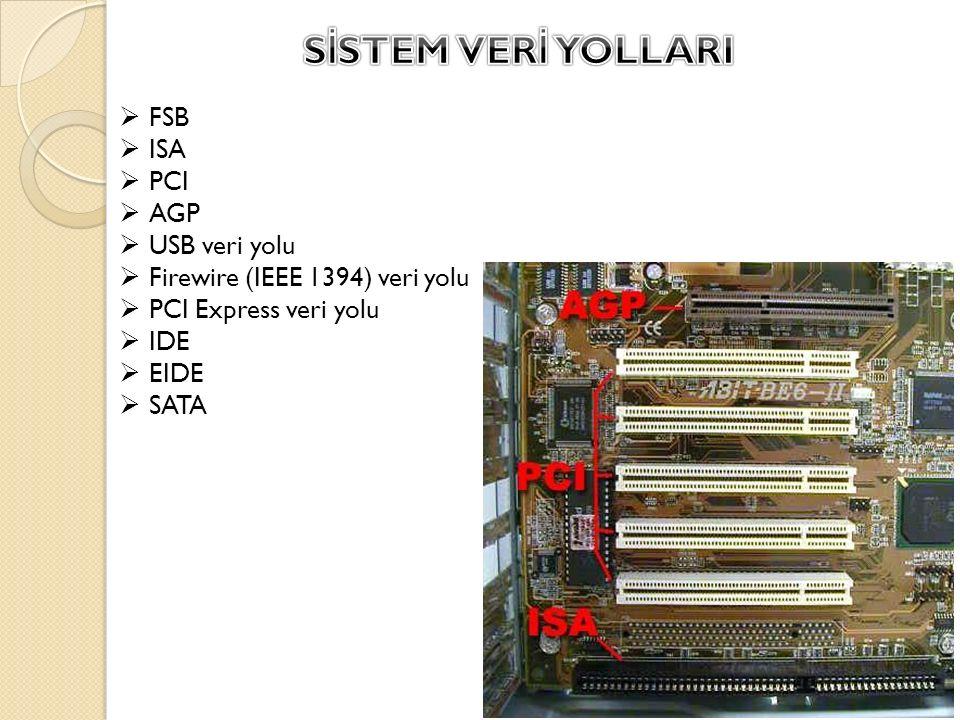  FSB  ISA  PCI  AGP  USB veri yolu  Firewire (IEEE 1394) veri yolu  PCI Express veri yolu  IDE  EIDE  SATA