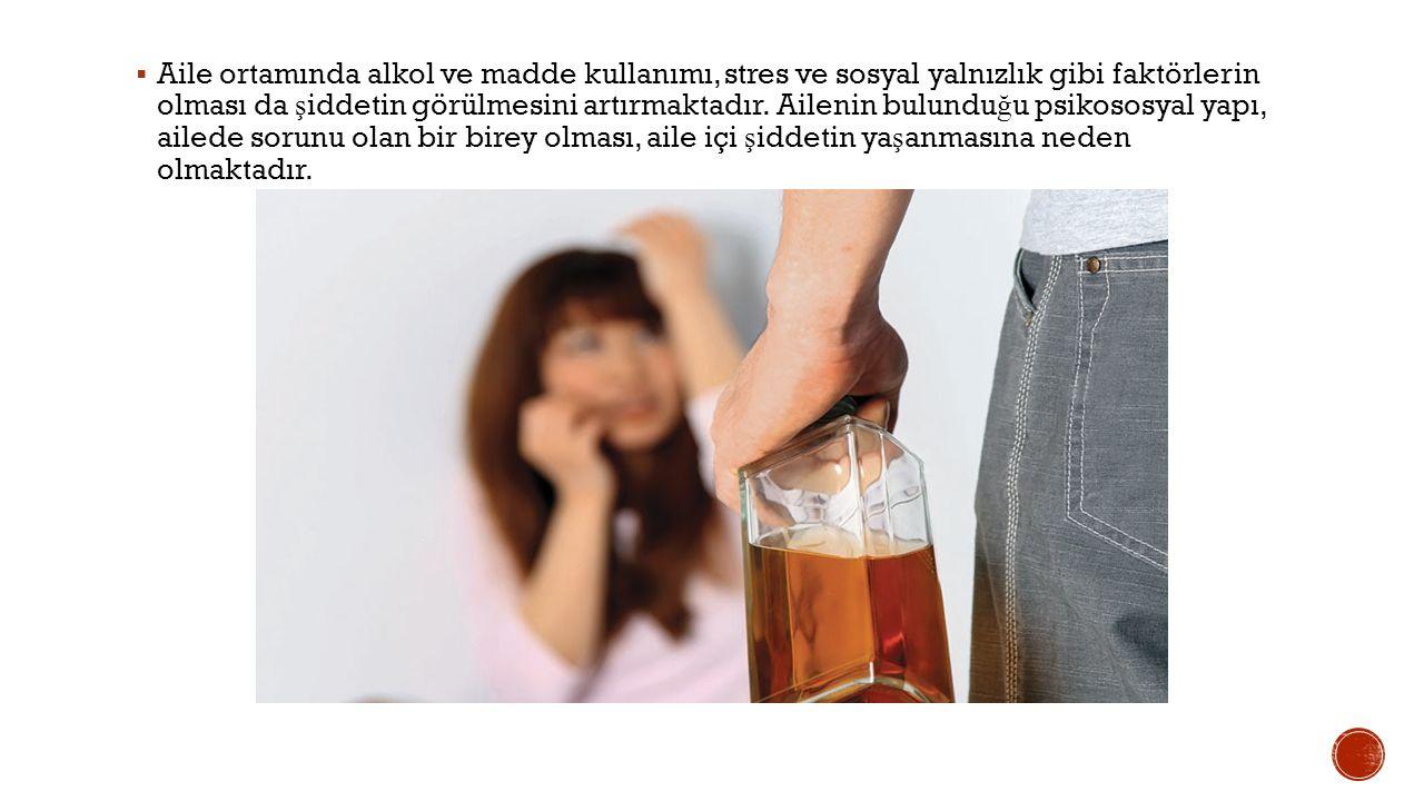  Aile ortamında alkol ve madde kullanımı, stres ve sosyal yalnızlık gibi faktörlerin olması da ş iddetin görülmesini artırmaktadır.