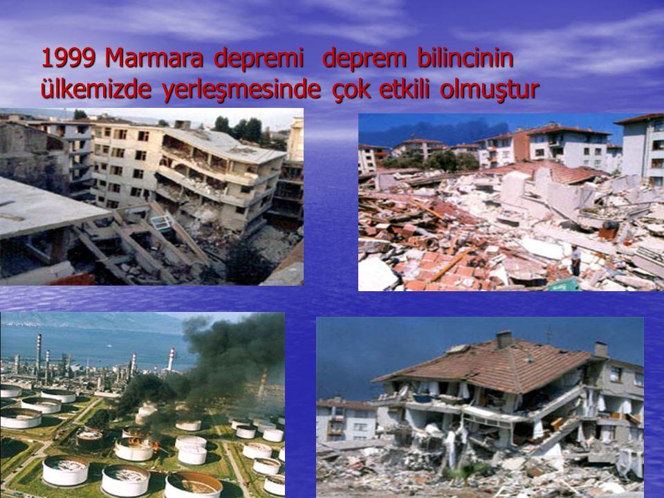 1999 Marmara depremi deprem bilincinin ülkemizde yerleşmesinde çok etkili olmuştur