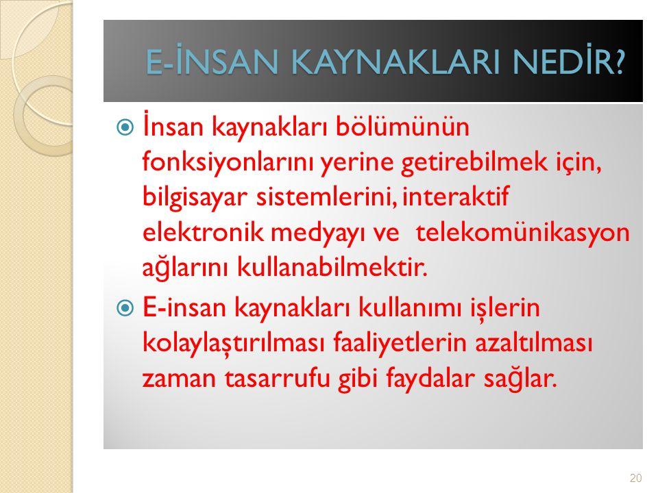 E- İ NSAN KAYNAKLARI NED İ R.