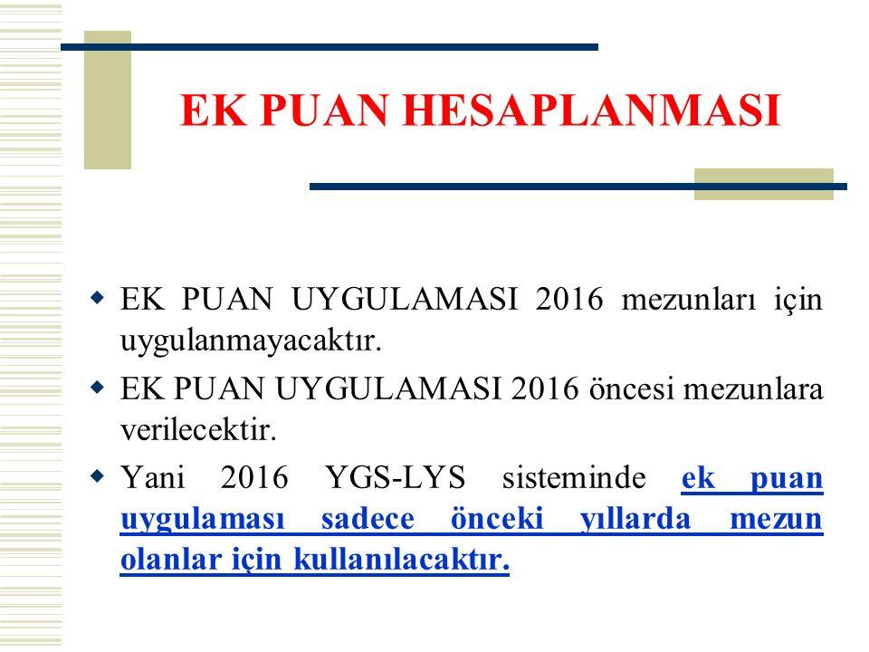 EK PUAN HESAPLANMASI  EK PUAN UYGULAMASI 2016 mezunları için uygulanmayacaktır.  EK PUAN UYGULAMASI 2016 öncesi mezunlara verilecektir.  Yani 2016