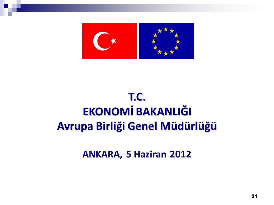 21 T.C. EKONOMİ BAKANLIĞI Avrupa Birliği Genel Müdürlüğü ANKARA, 5 Haziran 2012