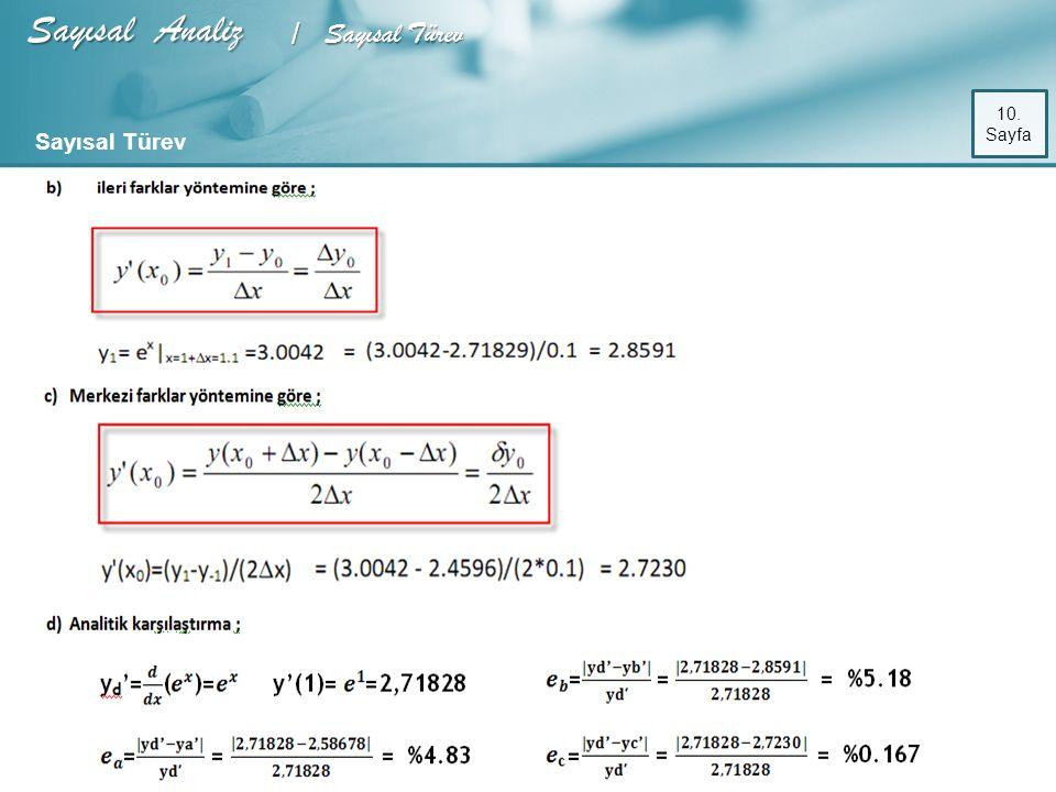 Sayısal Analiz / Sayısal Türev 10. Sayfa Sayısal Türev