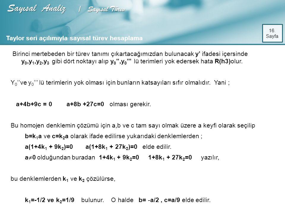 Sayısal Analiz / Sayısal Türev 16.