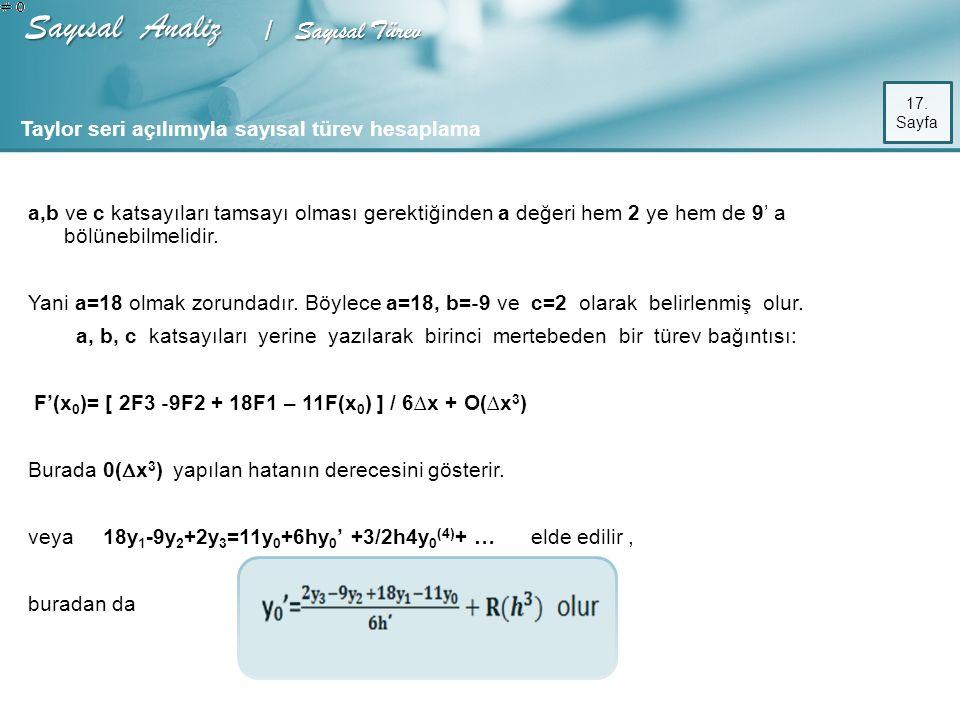 Sayısal Analiz / Sayısal Türev 17.