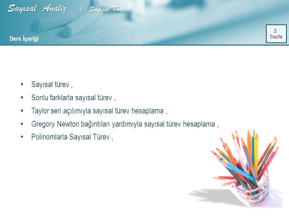 Sayısal Analiz / Sayısal Türev 23. Sayfa Matlab