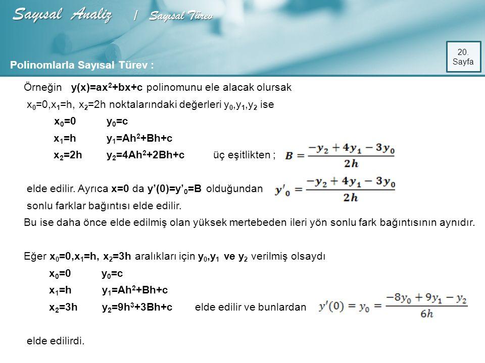 Sayısal Analiz / Sayısal Türev 20.