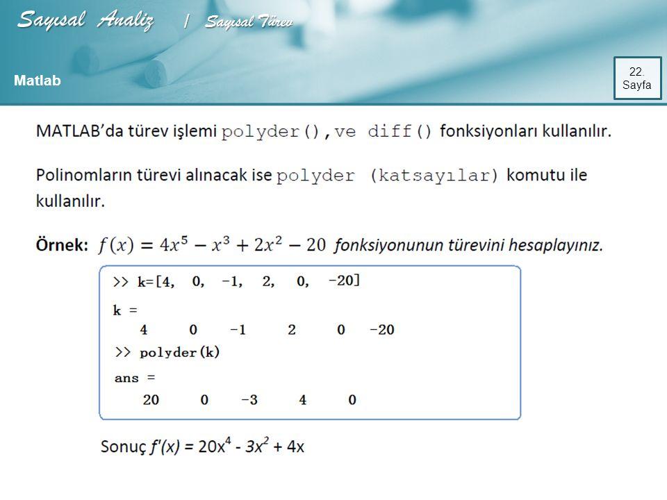 Sayısal Analiz / Sayısal Türev 22. Sayfa Matlab