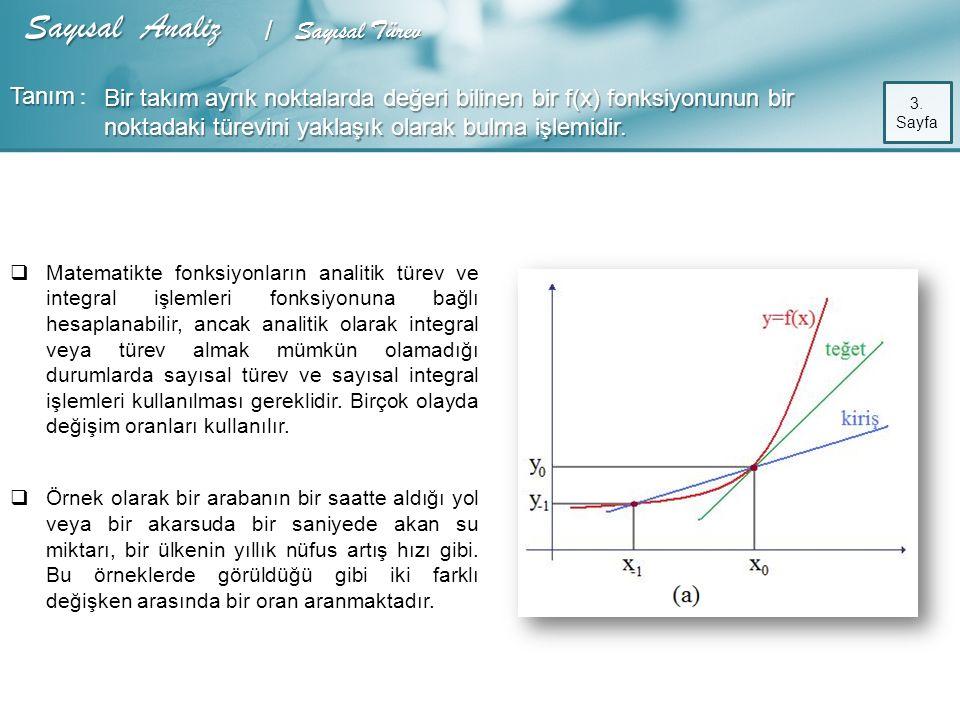   Matematikte fonksiyonların analitik türev ve integral işlemleri fonksiyonuna bağlı hesaplanabilir, ancak analitik olarak integral veya türev almak mümkün olamadığı durumlarda sayısal türev ve sayısal integral işlemleri kullanılması gereklidir.