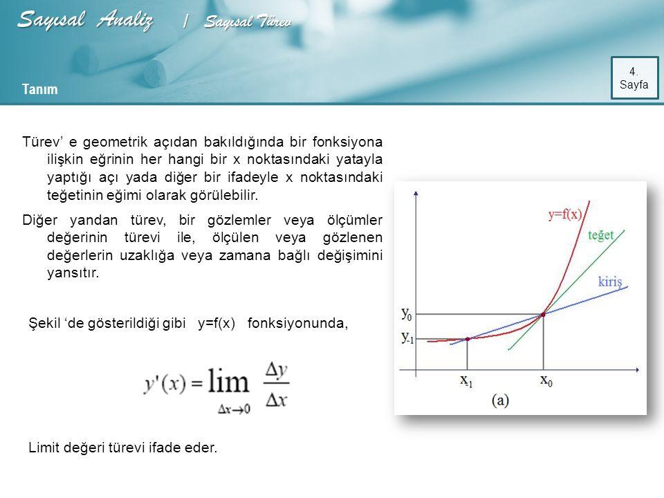 Kaynaklar : Sayısal Analiz S.Akpınar Mühendisler için Sayısal Yöntemler (Steven C.Chapra&RaymontP.Canale)