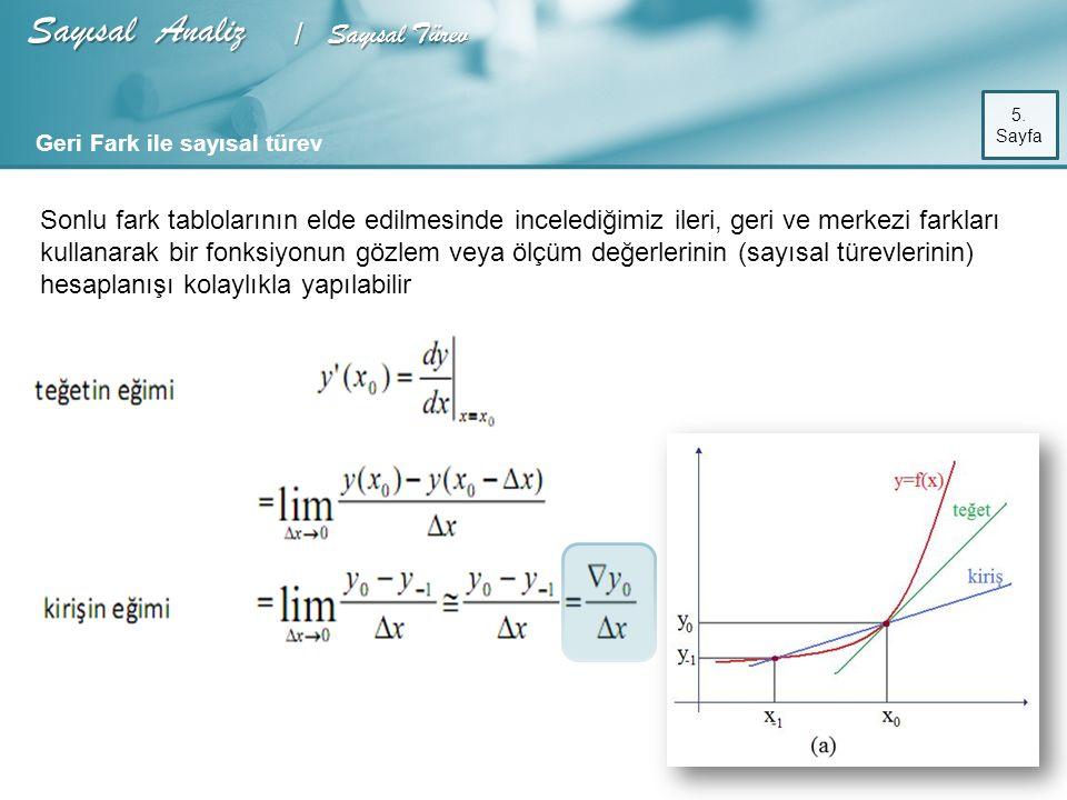 Sayısal Analiz / Sayısal Türev 5.