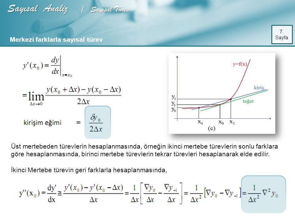 Sayısal Analiz / Sayısal Türev 8.
