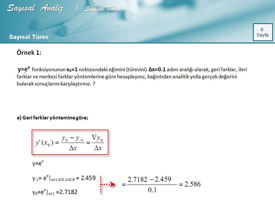 Sayısal Analiz / Sayısal Türev 9. Sayfa Sayısal Türev