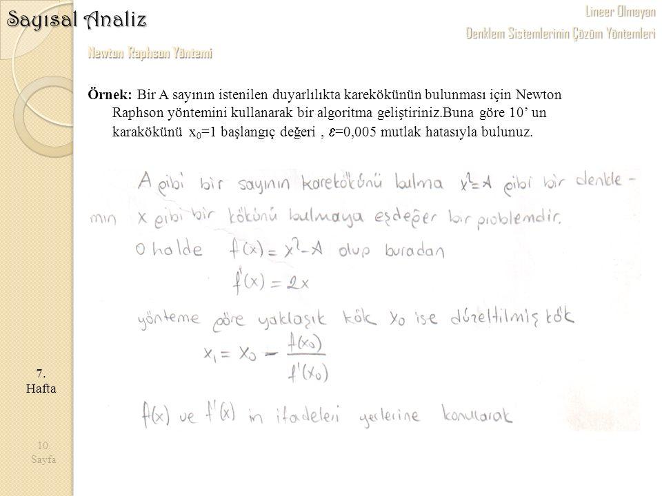10. Sayfa 7. Hafta Sayısal Analiz Newton Raphson Yöntemi Örnek: Bir A sayının istenilen duyarlılıkta karekökünün bulunması için Newton Raphson yöntemi