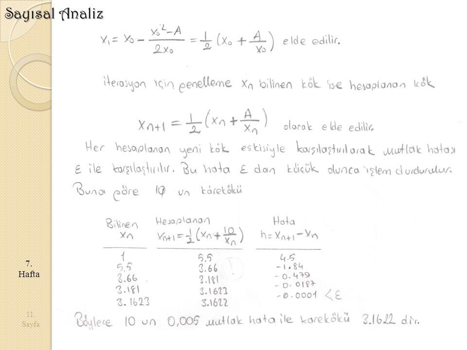 11. Sayfa 7. Hafta Sayısal Analiz