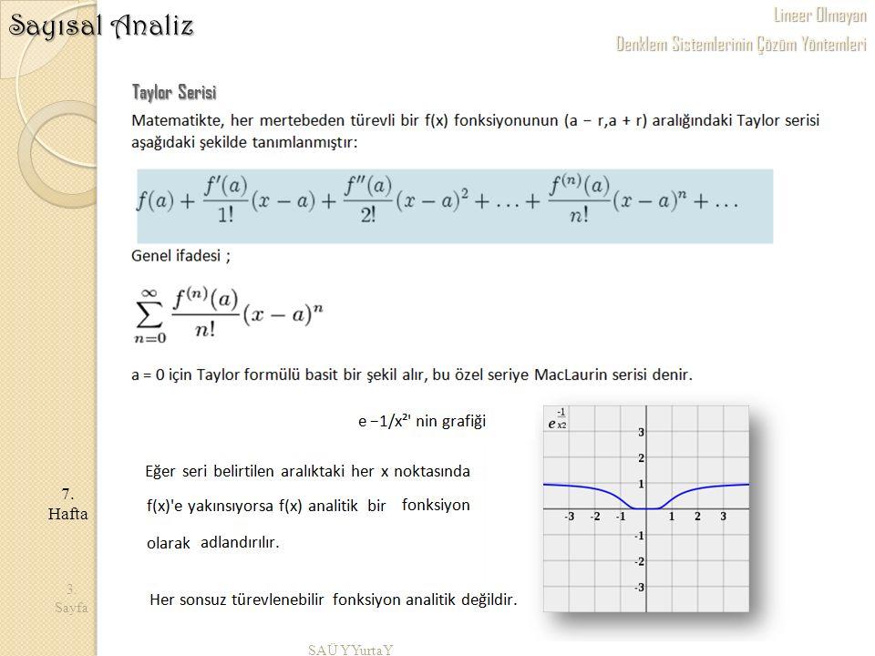 Lineer Olmayan Denklem Sistemlerinin Çözüm Yöntemleri SAÜ YYurtaY 3. Sayfa 7. Hafta Sayısal Analiz Taylor Serisi