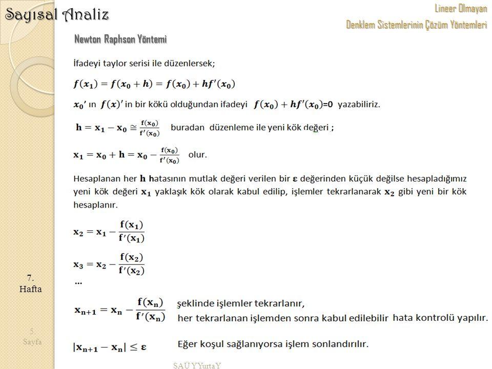 SAÜ YYurtaY 5. Sayfa 7. Hafta Sayısal Analiz Newton Raphson Yöntemi Lineer Olmayan Denklem Sistemlerinin Çözüm Yöntemleri