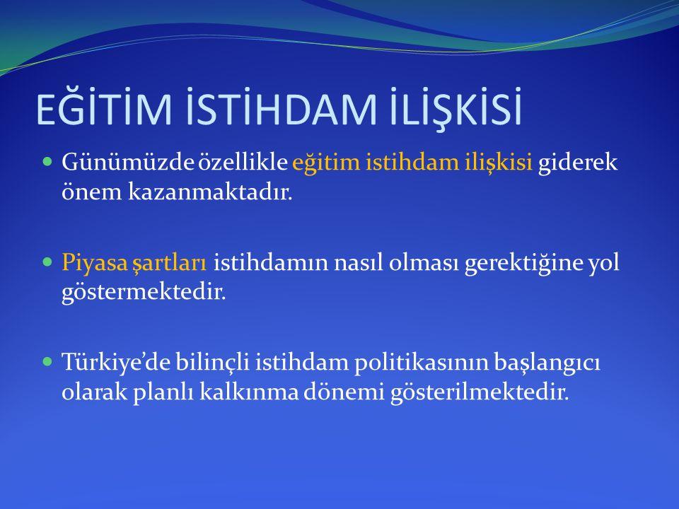 EĞİTİM İSTİHDAM İLİŞKİSİ  Türkiye'de istihdam sorununun önemli nedenleri; 1.