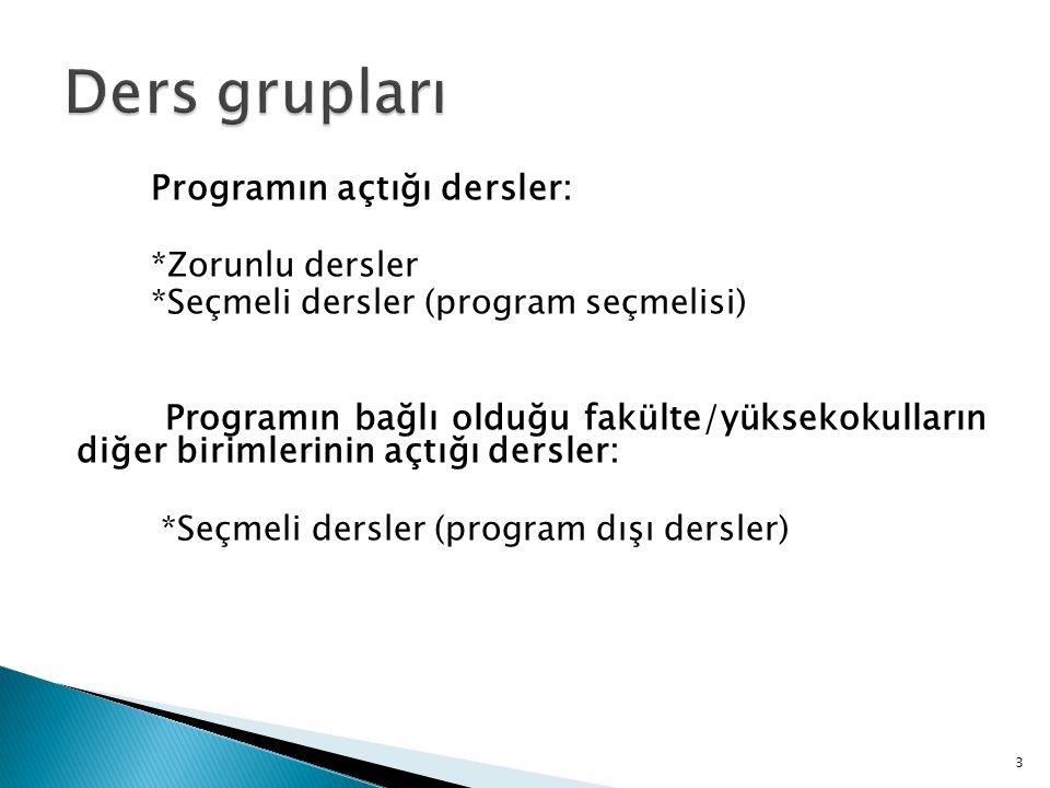 Programın açtığı dersler: *Zorunlu dersler *Seçmeli dersler (program seçmelisi) Programın bağlı olduğu fakülte/yüksekokulların diğer birimlerinin açtığı dersler: *Seçmeli dersler (program dışı dersler) 3