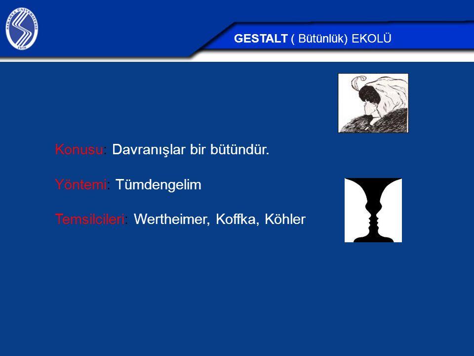 Konusu: Davranışlar bir bütündür. Yöntemi: Tümdengelim Temsilcileri: Wertheimer, Koffka, Köhler GESTALT ( Bütünlük) EKOLÜ